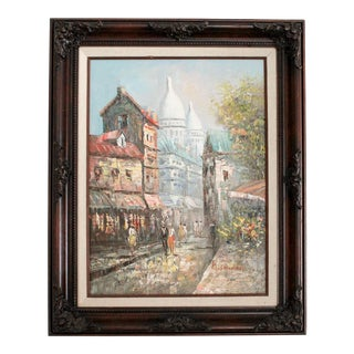 Original Impressionist Oil Painting Paris Scene Framed For Sale