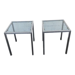 Mid Century Hollywood Regency Pair of Square Aluminum Glass Side End Tables For Sale