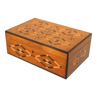 English Victorian Oak Inlaid Box For Sale
