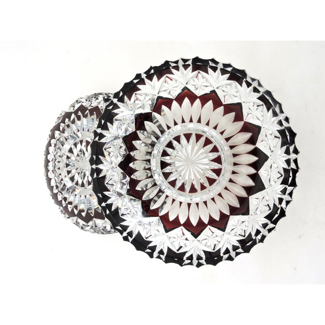 Late 19th Century Superb Antique English Ruby Red Cut Glass Serving Set, Platter and Six Bowls/Dishes For Sale - Image 5 of 7