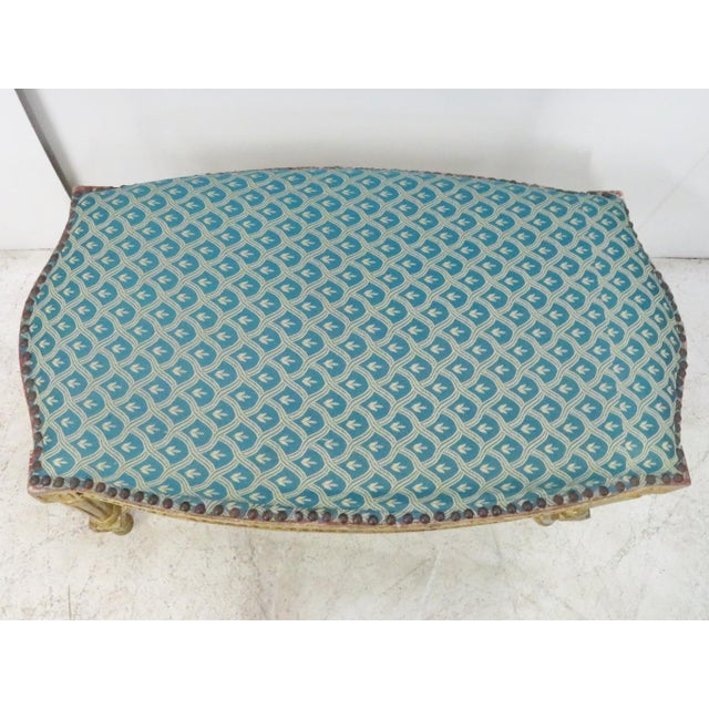 Mid 20th Century Louis XVI Blue & Gold Gilt Bench For Sale - Image 5 of 7