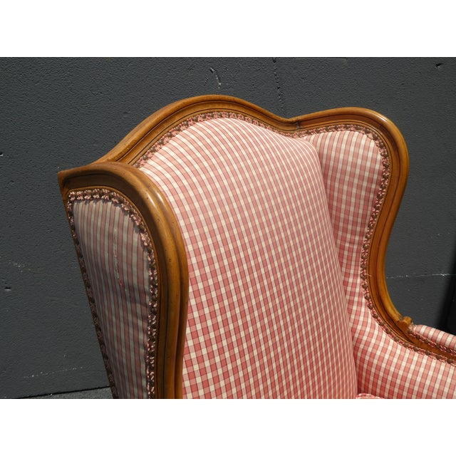 Vintage French Country Farmhouse Chic Red & White Plaid Wingback Chair - Image 7 of 11