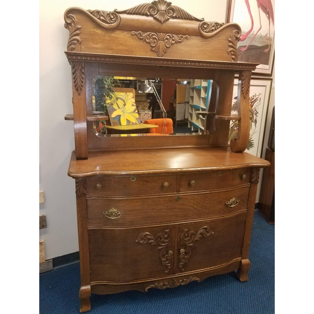 Antique Oak Sideboard Buffet With Mirror For Sale - Image 13 of 13