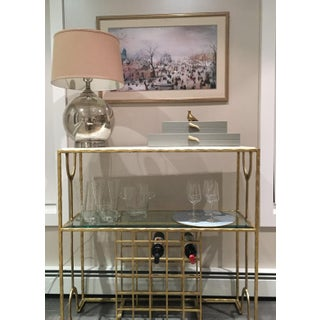 Transitional Gold Leaf and Stone Wine/Bar Console by Cth Sherrill Occasional Preview