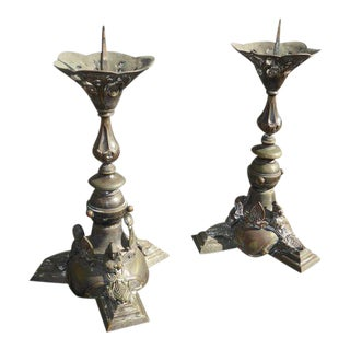 Antique Gothic Bronze Candle Holders - A Pair