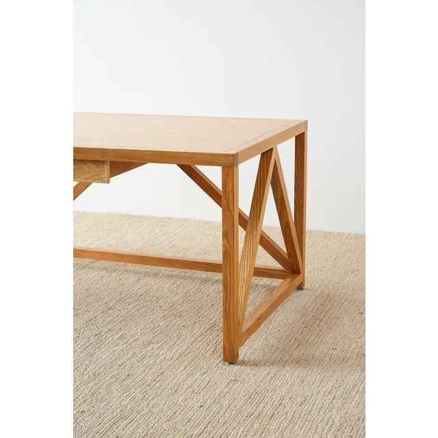 Mid-Century Modern Oak Architectural Writing Table Desk For Sale - Image 12 of 13