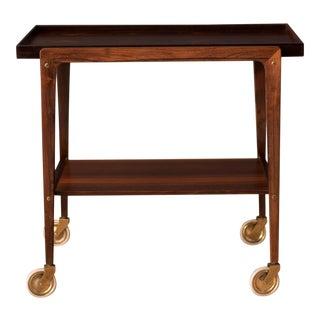 Vintage Scandinavian Rosewood Two-Tier Serving Bar Cart For Sale