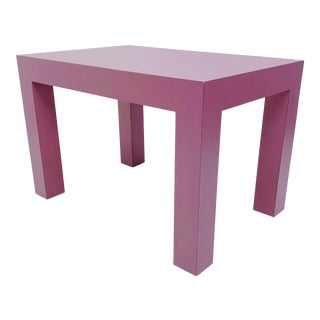 1980s Parsons Style Mauve Coffee Table For Sale