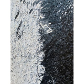 """""""Midnight Rain"""" Contemporary Black and White Abstract Expressionist Oil Painting by Monica Shulman For Sale"""