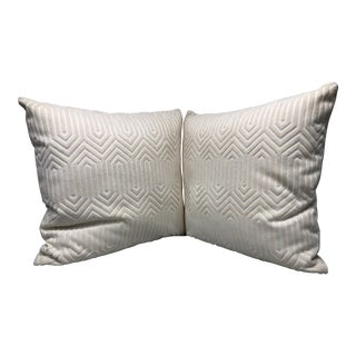 "22"" Geometric Cut Velvet Throw Pillows - a Pair For Sale"