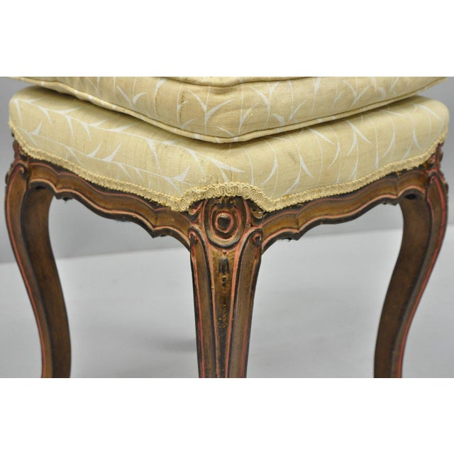 Fabric Vintage French Provincial Louis XV Style Upholstered Stool Bench For Sale - Image 7 of 10