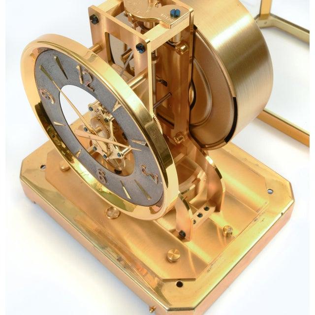 Metal Case Glass Brass Jaeger Le Coultre Mantel Desk Clock For Sale - Image 7 of 13