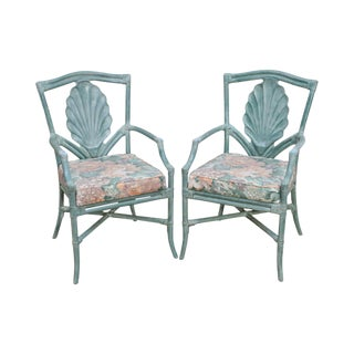 Surfside Casual Paint Frame Shell Carved Rattan Arm Chairs - A Pair