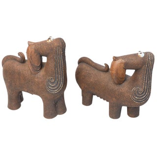 Artisan Signed Earthen Ware Dachshund Dogs Sculptures - a Pair For Sale