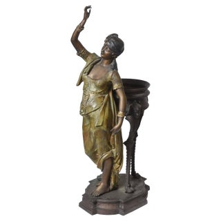 Bronze Orientalist Figural Floor Jardiniere by Peyre For Sale