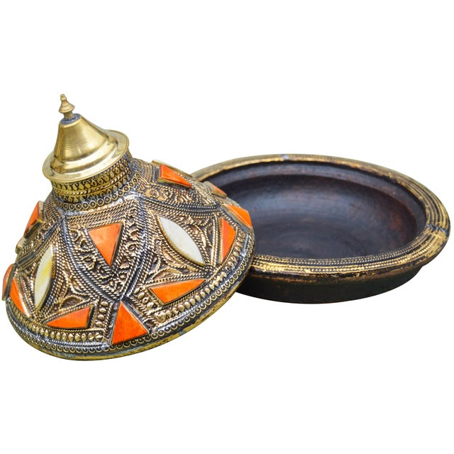 Moroccan Lidded Dish W/ Orange & Brass For Sale - Image 4 of 4