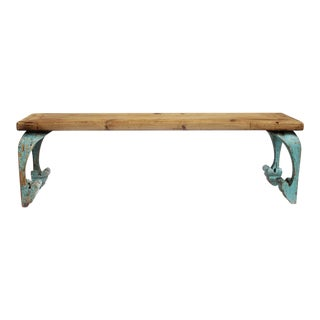 Reclaimed Wood Carved Leg Bench For Sale