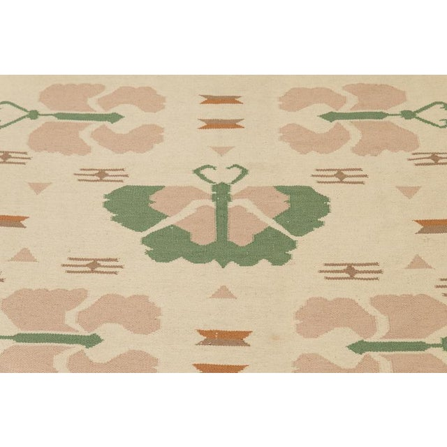 Butterfly Dhurrie Handoven Wool Rug - 5′7″ × 8′5″ - Image 5 of 6
