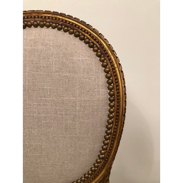 1940s Vintage Gilt French Oval Back Chairs- a Pair For Sale - Image 4 of 10