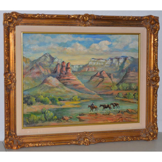 """Arizona Western Landscape """"Near Flagstaff"""" Oil Painting by Francoise Wonderful western landscape painting with a cowboy..."""