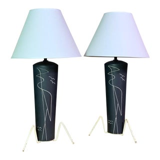 1950s Black Glazed Ceramic Sgraffito Lamps With Shades - a Pair For Sale