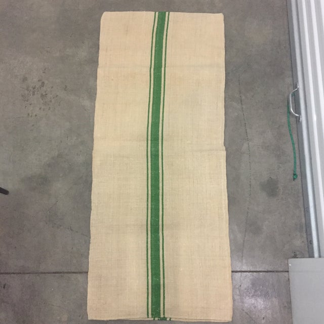 Country European Kelly Green Stripe Grain Sack Material For Sale - Image 3 of 5