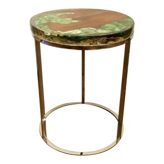 Interlude Home Teak and Green Abalone Shell in Resin Side Table For Sale