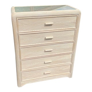 Vintage Coastal Pencil Reed Chest of Drawers For Sale