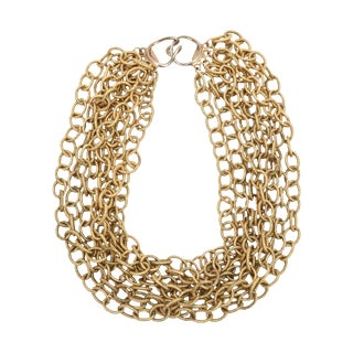 Italian 8 Row Textured Chain Necklace For Sale