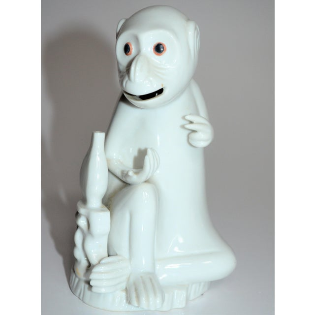 1970s Vintage Italian White Porcelain Monkey Figurine For Sale - Image 5 of 10