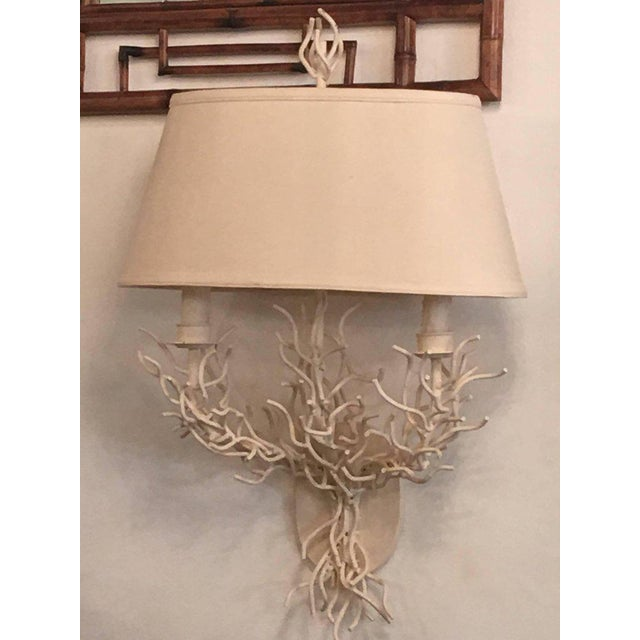 Metal Palm Beach Metal Coral Wall Light Sconces - a Pair For Sale - Image 7 of 11