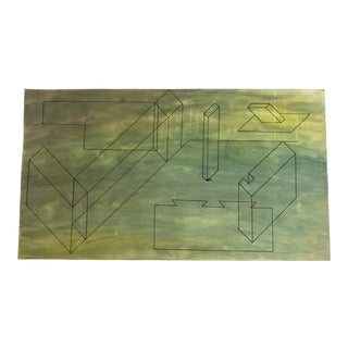 1950s Vintage Mid-Century Modern Abstract Shapes Painting For Sale