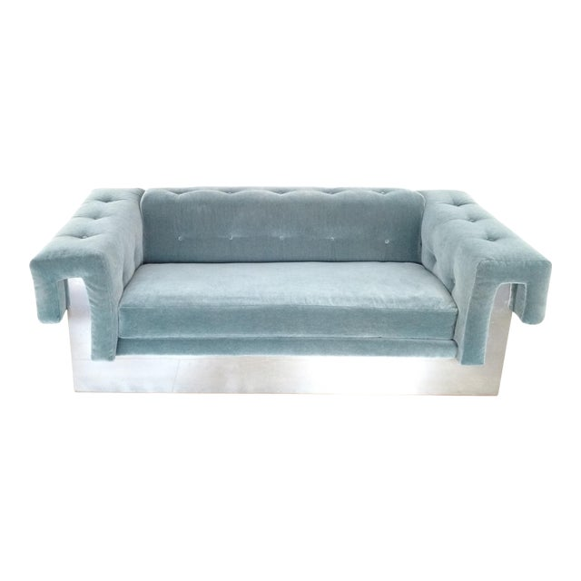 Milo Baughman Art Deco Mohair-Tuxedo Sofa For Sale