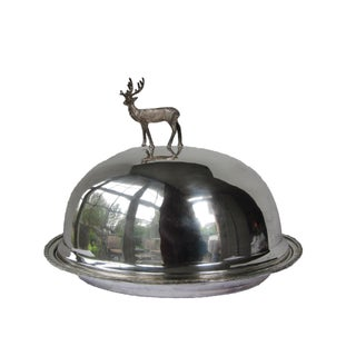 Silver-plate Meat Dome and Tray with Stag Handle