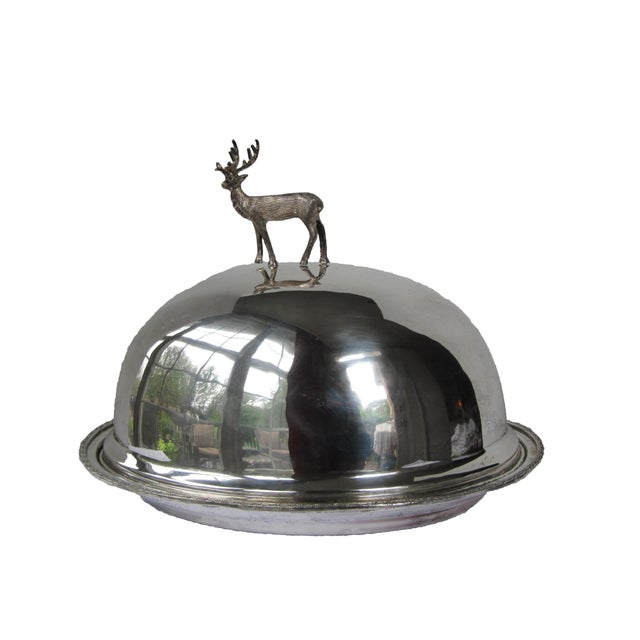 Silver-plate Meat Dome and Tray with Stag Handle For Sale