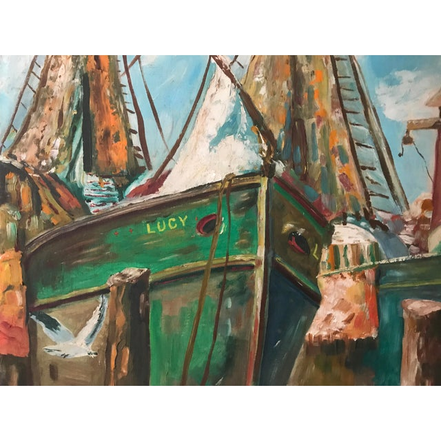Vintage Oil Painting of a Harbor Scene with Ships C. 1950s - Image 4 of 5