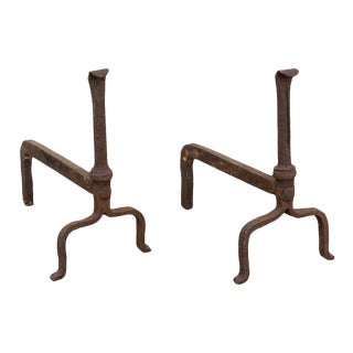 Old Handforged Folk Art Iron Arts & Crafts Fireplace Andirons - a Pair For Sale