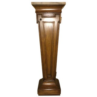 Hollywood Regency Style Open Door Storage Marble Top Pedestal For Sale