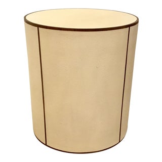 Transitional Ivory Faux Shagreen Round Side Table