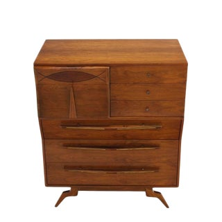 Unusual Sculptural Design Mid-Century Modern Walnut High Chest Dressser