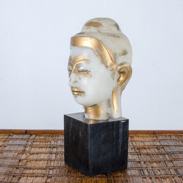 Stone Mandalay Alabaster Shakyamuni Buddha Sculpture For Sale - Image 7 of 12