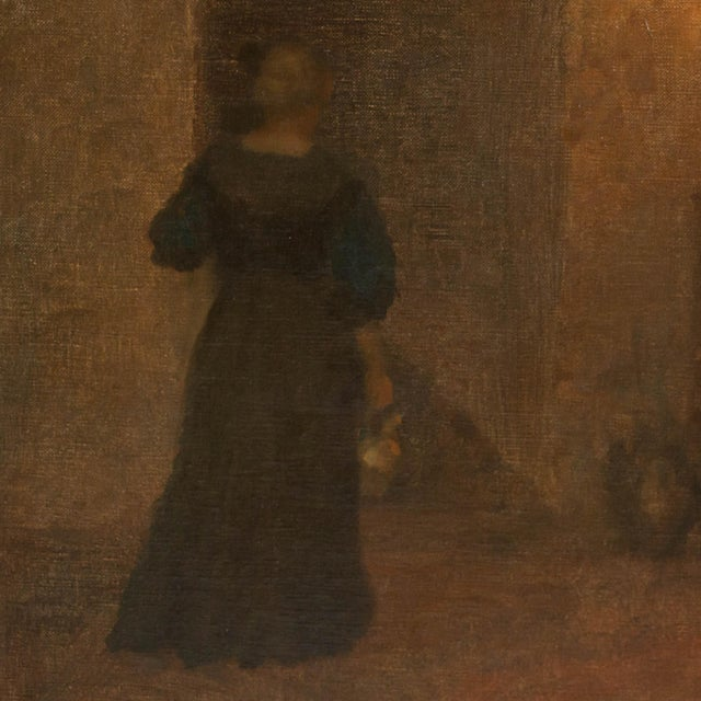 Early 20th Century Early 20th Century Antique Woman in Hallway Original Oil on Canvas Painting For Sale - Image 5 of 8