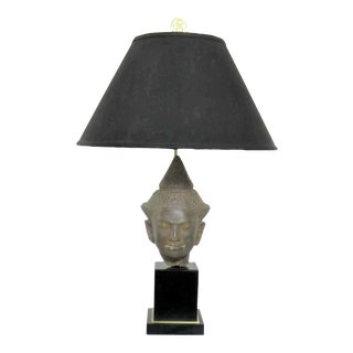 Hollywood Regency Vintage Buddha Head Table Lamp by Paul Hanson For Sale