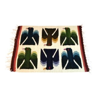 """Vintage Mid Century Weaving Table Rug- 1' x 1′4"""" For Sale"""