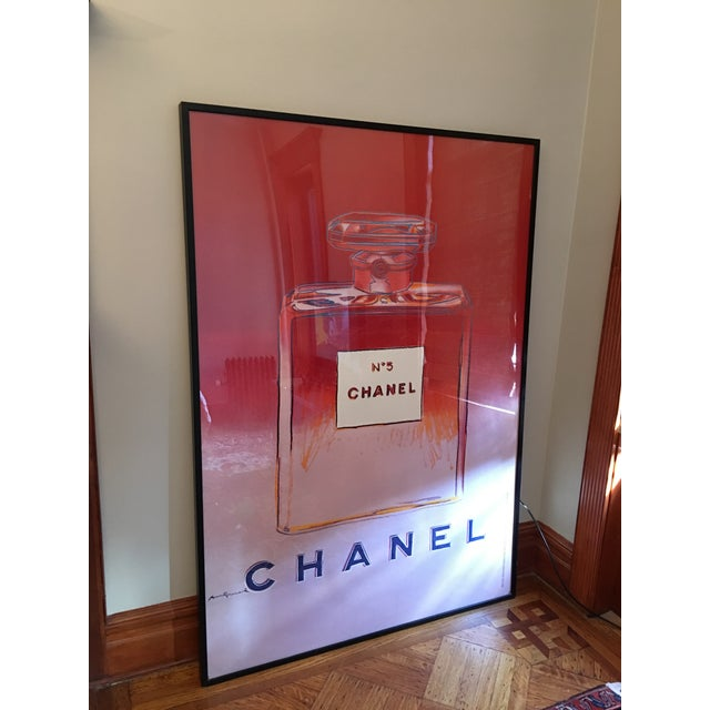 Large Andy Warhol print of his famous 1980s Chanel No. 5 perfume bottle. Originally created by Warhol for the NYC Subway...