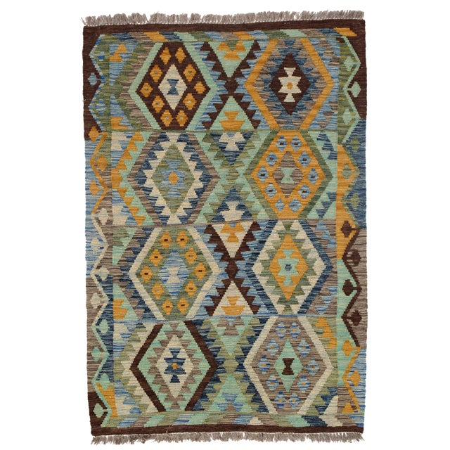 Afghan Kilim Handspun Wool Rug - 3′4″ × 4′11″ For Sale