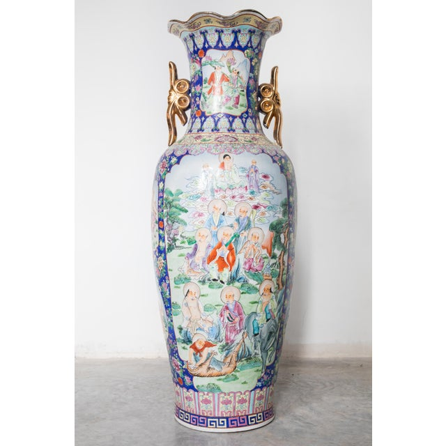 Large Baluster Floor Vase of Chinese Canton Famille for European Market For Sale - Image 6 of 6