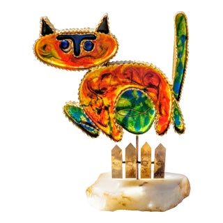 Curtis Jere Brass and Resin Sculpture of Cat For Sale