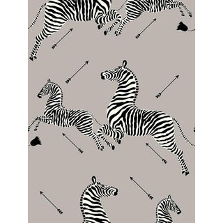 Scalamandre Zebras, Silver Wallpaper For Sale