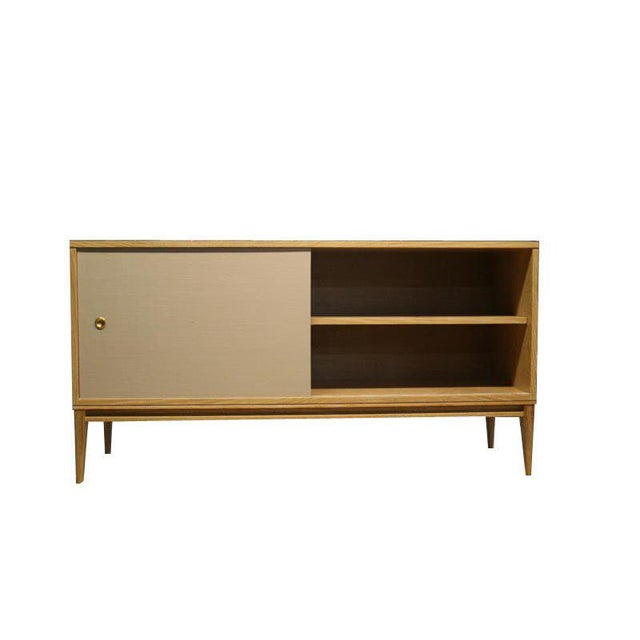 Customizable Bishop Lacquered Linen Door Console For Sale - Image 4 of 10